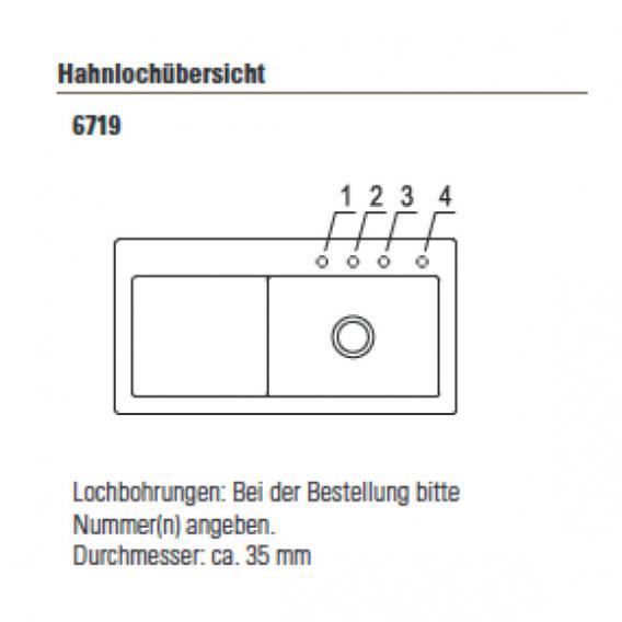Villeroy & Boch Subway 60 XL Spüle weiß alpin hochglanz/Position Lochbohrungen 1 und 2