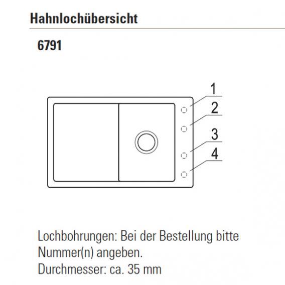 Villeroy & Boch Timeline 45 Flat Spüle ebony/Position Hahnlöcher 1 und 4