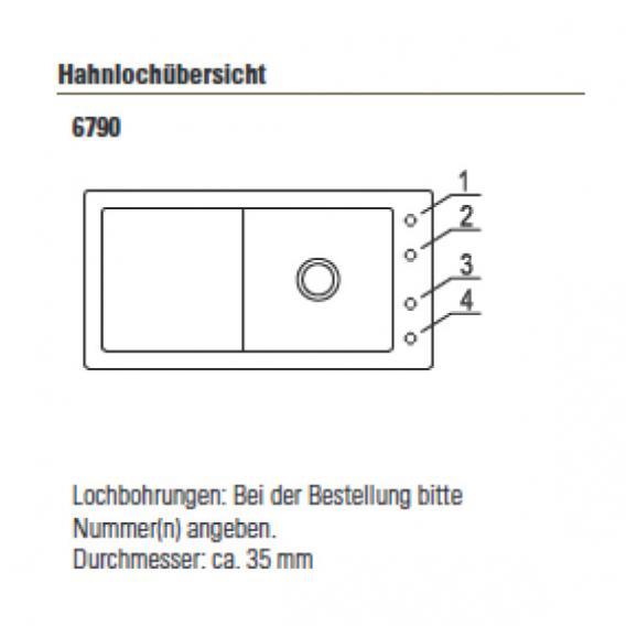 Villeroy & Boch Timeline 60 Spüle ebony/Position Lochbohrungen 1 und 4