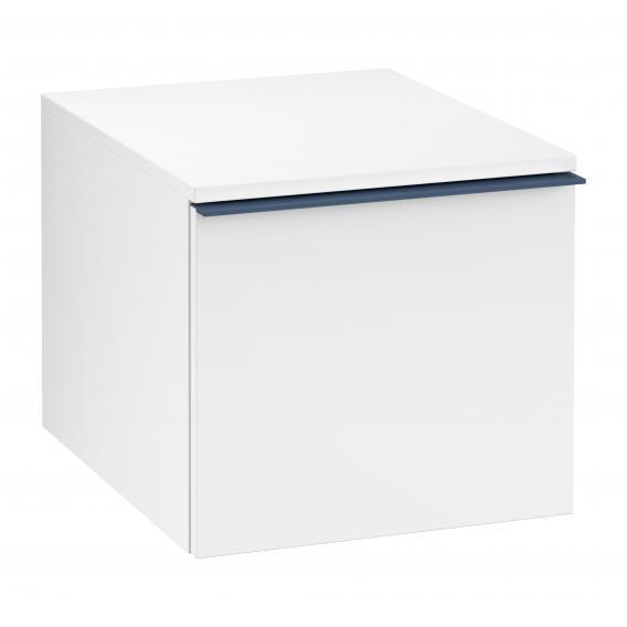 Villeroy & Boch Venticello Anbauschrank mit 1 Auszug Front weiß matt / Korpus weiß matt, Griff blau