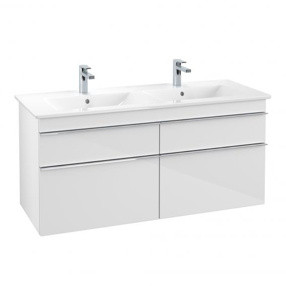 Villeroy & Boch Venticello Doppelwaschtisch mit Waschtischunterschrank mit 4 Auszügen Front glossy white / Korpus glossy white, Griff chrom, WT weiß mit CeramicPlus, mit 2 Hahnlöchern