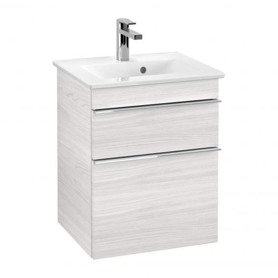 Villeroy & Boch Venticello Handwaschbecken mit Waschtischunterschrank mit 2 Auszügen Front white wood / Korpus white wood, Griff chrom, WT weiß