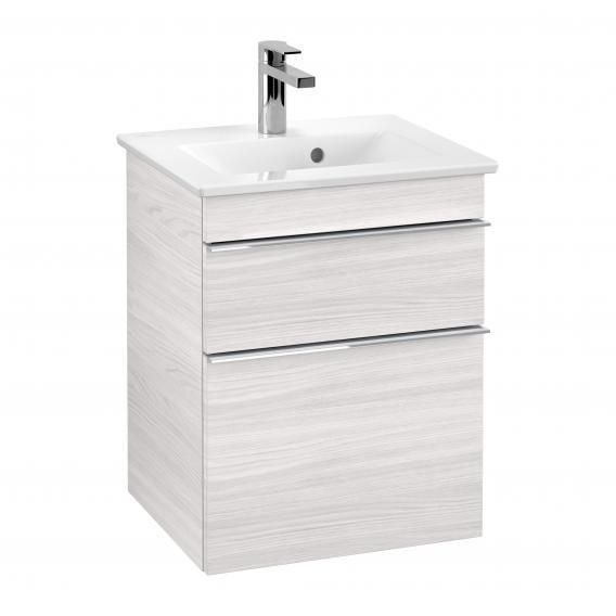 Villeroy & Boch Venticello Handwaschbeckenunterschrank XXL mit 2 Auszügen Front white wood / Korpus white wood, Griff chrom