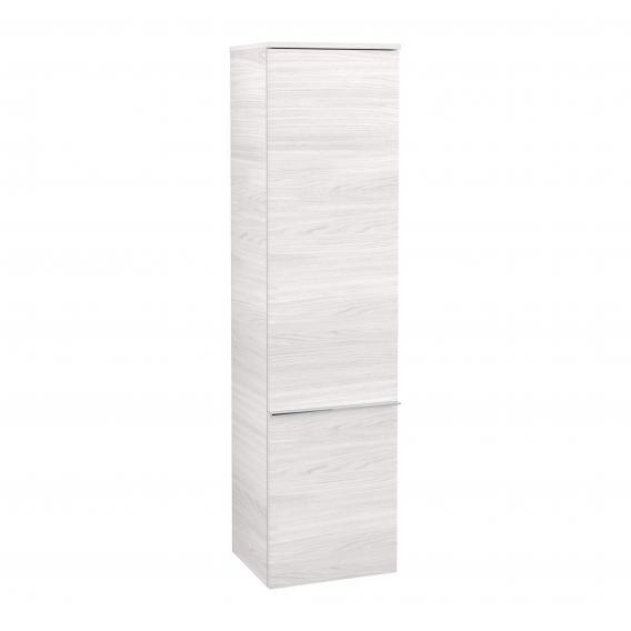 Villeroy & Boch Venticello Hochschrank mit 1 Tür Front white wood / Korpus white wood, Griff chrom