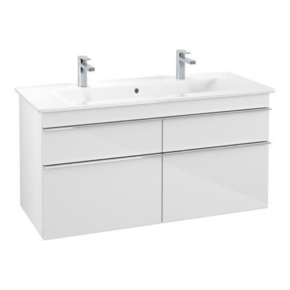 Villeroy & Boch Venticello Waschtisch mit Waschtischunterschrank mit 4 Auszügen weiß, mit CeramicPlus, mit 2 Hahnlöchern, mit Überlauf