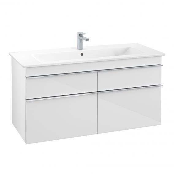Villeroy & Boch Venticello Waschtisch mit Waschtischunterschrank mit 4 Auszügen Front glossy white / Korpus glossy white, Griff chrom, WT weiß mit CeramicPlus, mit 1 Hahnloch