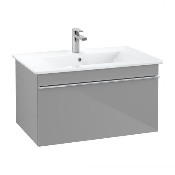 Villeroy & Boch Venticello Waschtischunterschrank mit 1 Auszug Front glossy grey / Korpus glossy grey, Griff chrom