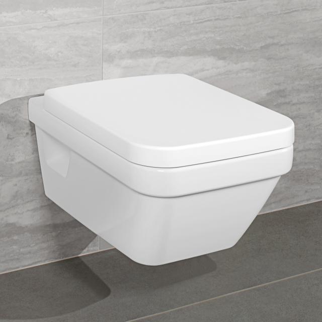 Villeroy & Boch Architectura Combi-Pack Wand-Tiefspül-WC offener Spülrand, WC-Sitz weiß, mit CeramicPlus