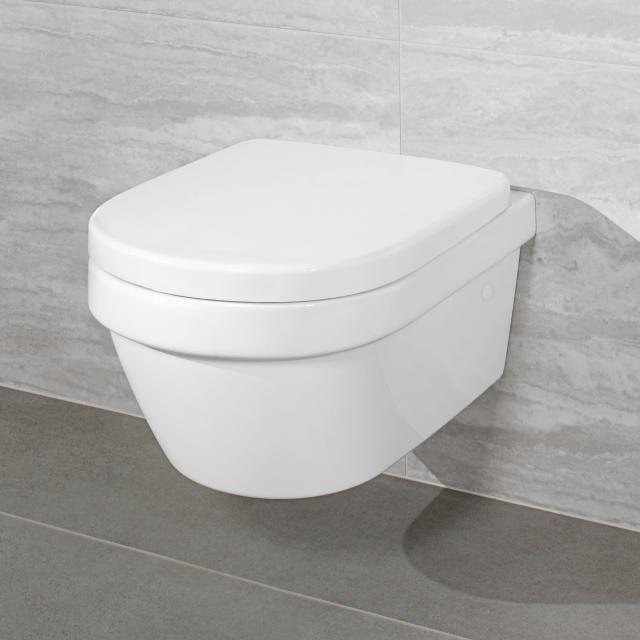 Villeroy & Boch Architectura Combi-Pack Wand-Tiefspül-WC offener Spülrand, DirectFlush weiß, mit CeramicPlus