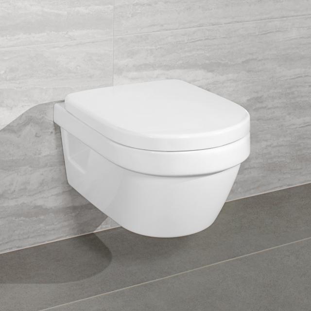 Villeroy & Boch Architectura Compact Combi-Pack Wand-Tiefspül-WC, offener Spülrand, mit WC-Sitz weiß