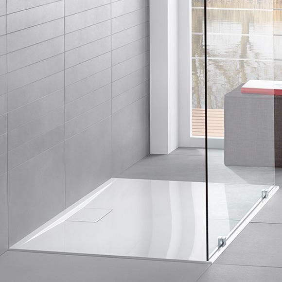 Villeroy & Boch Architectura MetalRim Duschwanne, Randhöhe 4,8 cm weiß, mit rutschhemmender Oberfläche VilboGrip