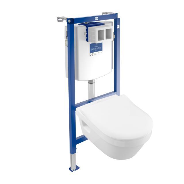 Villeroy & Boch Architectura & ViConnect NEU Komplett-Set Wand-Tiefspül-WC, offener Spülrand, mit WC-Sitz weiß, mit CeramicPlus