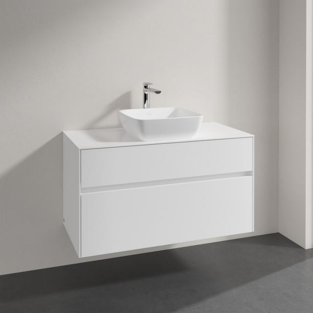 Villeroy & Boch Artis Aufsatzwaschtisch mit Embrace Waschtischunterschrank mit 2 Auszügen Front glossy white / Korpus glossy white, Griffmulde weiß matt