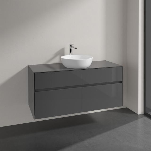 Villeroy & Boch Artis Aufsatzwaschtisch mit Embrace Waschtischunterschrank mit 4 Auszügen Front glossy grey / Korpus glossy grey, Griffmulde anthrazit matt