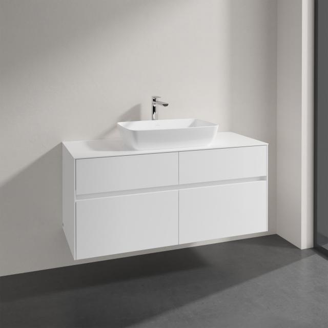 Villeroy & Boch Artis Aufsatzwaschtisch mit Embrace Waschtischunterschrank mit 4 Auszügen Front glossy white / Korpus glossy white, Griffmulde weiß matt