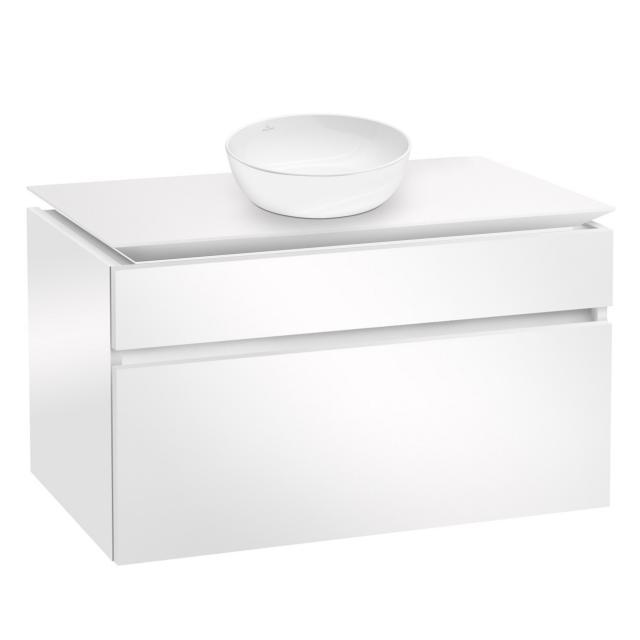 Villeroy & Boch Artis Aufsatzwaschtisch mit Legato Waschtischunterschrank mit 2 Auszügen Front glossy white / Korpus glossy white, WT weiß mit CeramicPlus
