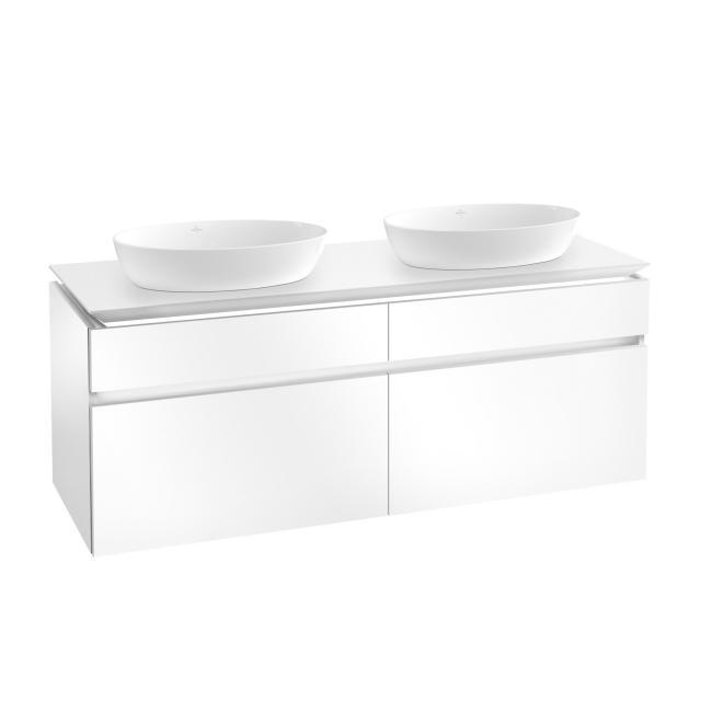 Villeroy & Boch Artis Aufsatzwaschtische mit Legato LED-Waschtischunterschrank mit 4 Auszügen Front glossy white / Korpus glossy white, WT weiß mit CeramicPlus