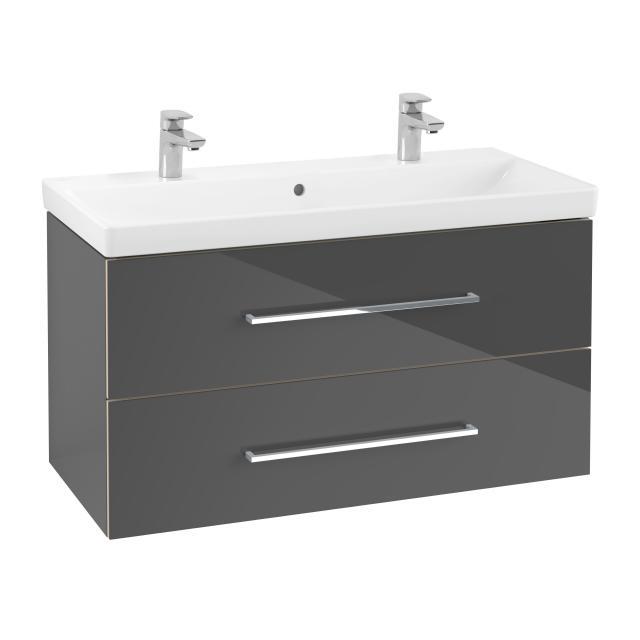 Villeroy & Boch Avento Doppelwaschtisch mit Waschtischunterschrank mit 2 Auszügen Front crystal grey / Korpus crystal grey,WT weiß mit Ceramicplus