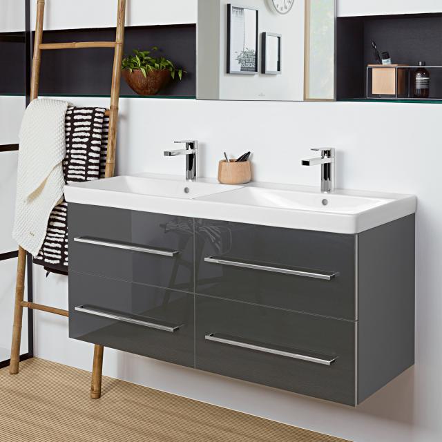 Villeroy & Boch Avento Doppelwaschtisch mit Waschtischunterschrank mit 4 Auszügen Front crystal grey / Korpus crystal grey, WT weiß