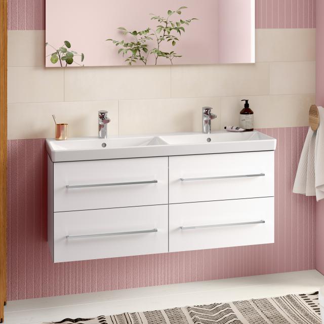Villeroy & Boch Avento Doppelwaschtisch mit Waschtischunterschrank mit 4 Auszügen Front crystal white / Korpus crystal white, WT weiß