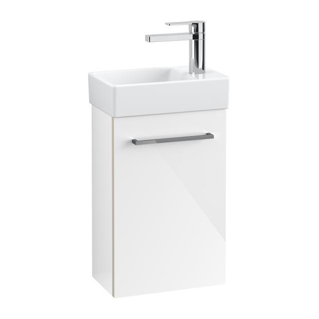 Villeroy & Boch Avento Handwaschbecken mit Waschtischunterschrank mit 1 Tür Front crystal white / Korpus crystal white, WT weiß mit Ceramicplus, Becken links