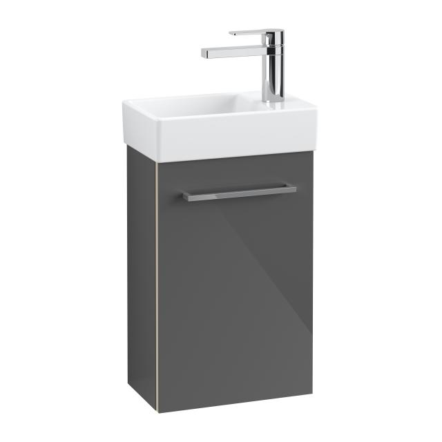 Villeroy & Boch Avento Handwaschbecken mit Waschtischunterschrank mit 1 Tür Front crystal grey / Korpus crystal grey, WT weiß, Becken links