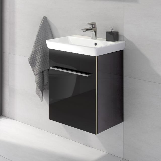 Villeroy & Boch Avento Handwaschbecken mit Waschtischunterschrank mit 1 Tür Front crystal black / Korpus crystal black, WT weiß mit Ceramicplus