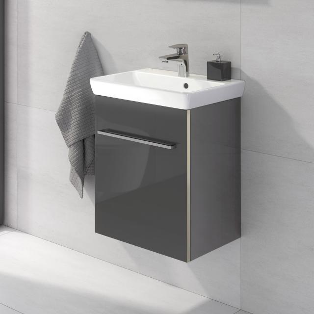 Villeroy & Boch Avento Handwaschbecken mit Waschtischunterschrank mit 1 Tür Front crystal grey / Korpus crystal grey, WT weiß