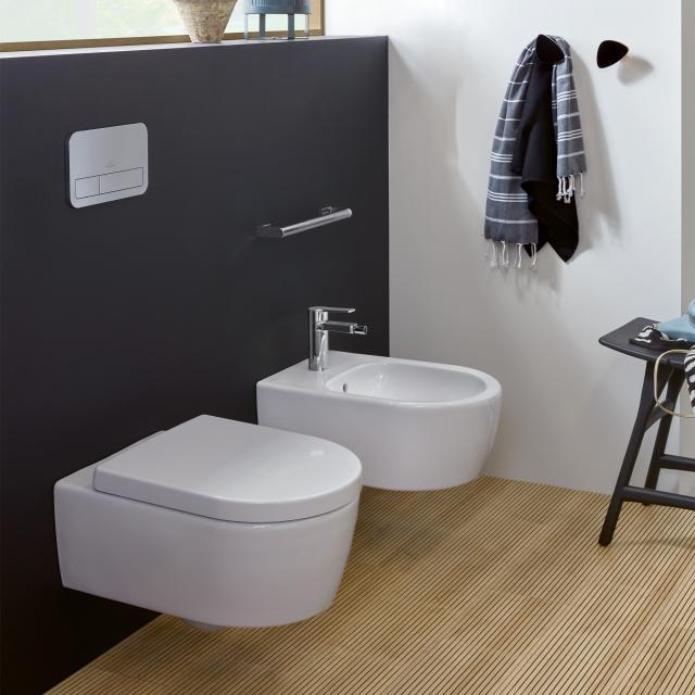 Villeroy & Boch Avento Wand-Tiefspül-WC, DirectFlush, mit WC-Sitz, Combi-Pack stone white, mit CeramicPlus
