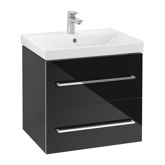 Villeroy & Boch Avento Waschtisch mit Waschtischunterschrank mit 2 Auszügen Front crystal black / Korpus crystal black, WT weiß mit Ceramicplus