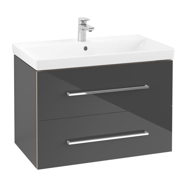 Villeroy & Boch Avento Waschtisch mit Waschtischunterschrank mit 2 Auszügen Front crystal grey / Korpus crystal grey,WT weiß mit Ceramicplus