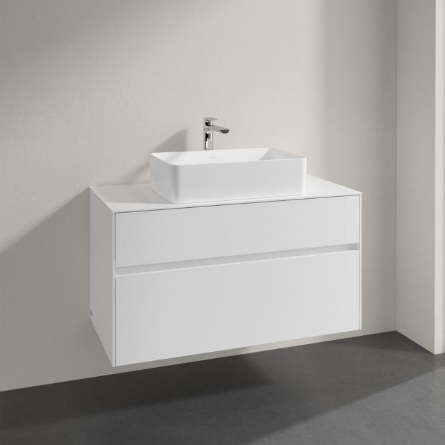 Villeroy & Boch Collaro Aufsatzwaschtisch mit Embrace Waschtischunterschrank mit 2 Auszügen Front glossy white / Korpus glossy white, Griffmulde weiß matt