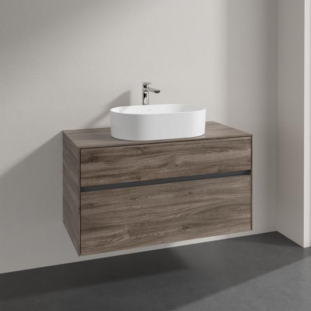 Villeroy & Boch Collaro Aufsatzwaschtisch mit Embrace Waschtischunterschrank mit 2 Auszügen Front stone oak / Korpus stone oak, Griffmulde anthrazit matt