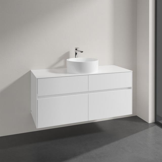 Villeroy & Boch Collaro Aufsatzwaschtisch mit Embrace Waschtischunterschrank mit 4 Auszügen Front glossy white / Korpus glossy white, Griffmulde weiß matt