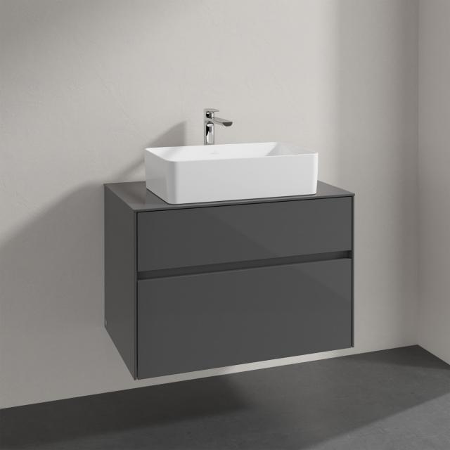 Villeroy & Boch Collaro Aufsatzwaschtisch mit Embrace Waschtischunterschrank mit 2 Auszügen Front glossy grey / Korpus glossy grey, Griffmulde anthrazit matt