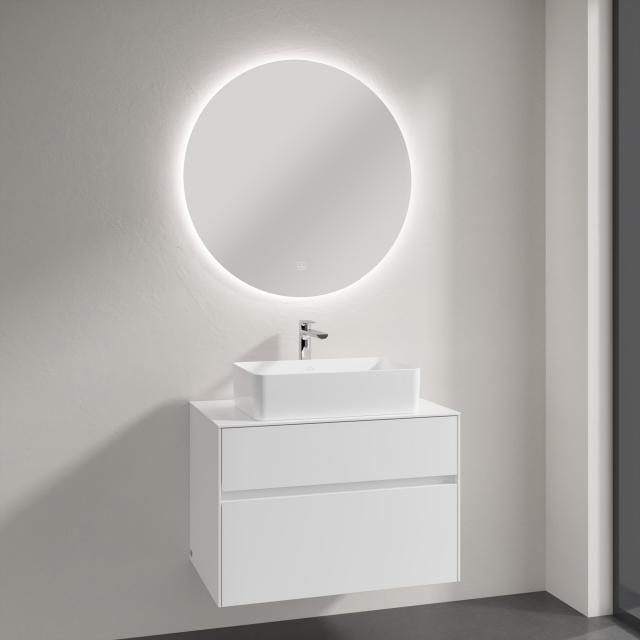 Villeroy & Boch Collaro Aufsatzwaschtisch mit Embrace Waschtischunterschrank und More to See Lite Spiegel Front glossy white/verspiegelt / Korpus glossy white, Griffmulde weiß matt
