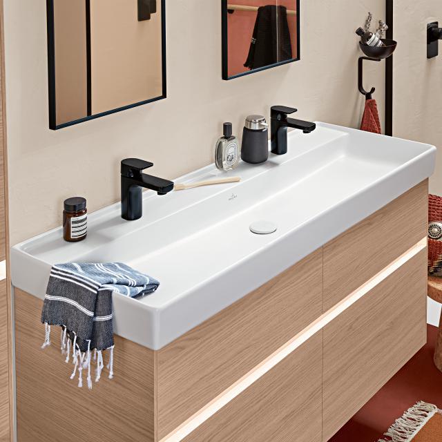 Villeroy & Boch Collaro Doppel-Möbelwaschtisch weiß mit CeramicPlus, ohne Überlauf