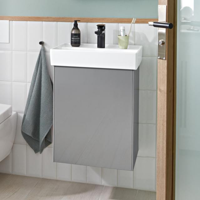 Villeroy & Boch Collaro Handwaschbeckenunterschrank mit 1 Tür Front glossy grey / Korpus glossy grey