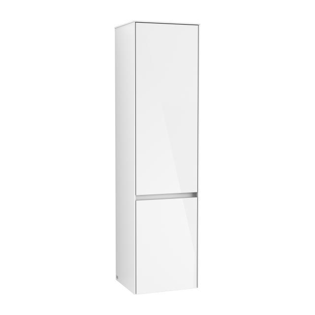 Villeroy & Boch Collaro Hochschrank mit 2 Türen und 1 Wäschekorb Front glossy white / Korpus glossy white, Griffmulde weiß matt