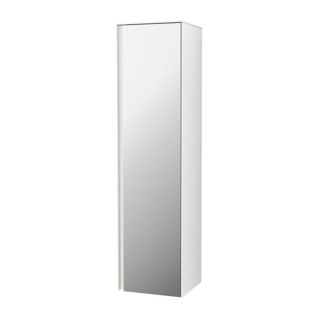 Villeroy & Boch Collaro LED-Hochschrank mit 1 Tür Front verspiegelt / Korpus glossy white, Griffleiste weiß matt
