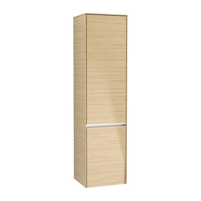 Villeroy & Boch Collaro LED-Hochschrank mit 2 Türen und 1 Wäschekorb Front nordic oak / Korpus nordic oak, Griffmulde soft grey