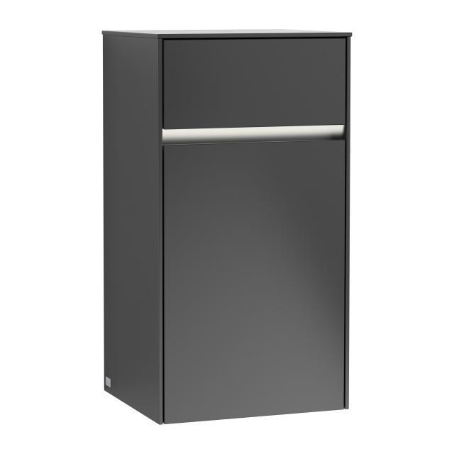 Villeroy & Boch Collaro LED-Seitenschrank mit 1 Tür mit 1 Auszug Front black matt / Korpus black matt, Griffmulde black matt