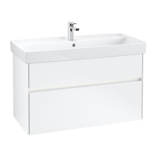 Villeroy & Boch Collaro LED-Waschtischunterschrank mit 2 Auszügen Front weiß matt / Korpus weiß matt, Griffmulde weiß matt