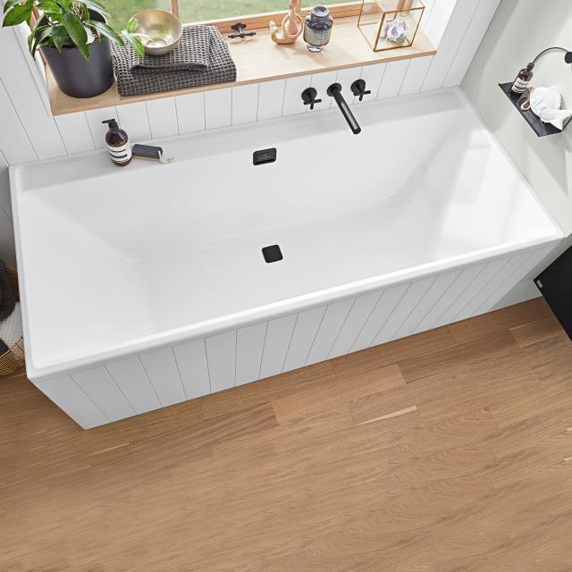 Villeroy & Boch Collaro Rechteck-Badewanne stone white, Ab-/Überlaufgarnitur black matt