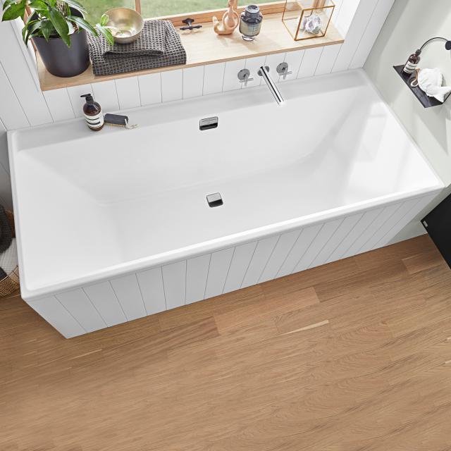 Villeroy & Boch Collaro Rechteck-Badewanne weiß, Ab-/Überlaufgarnitur chrom