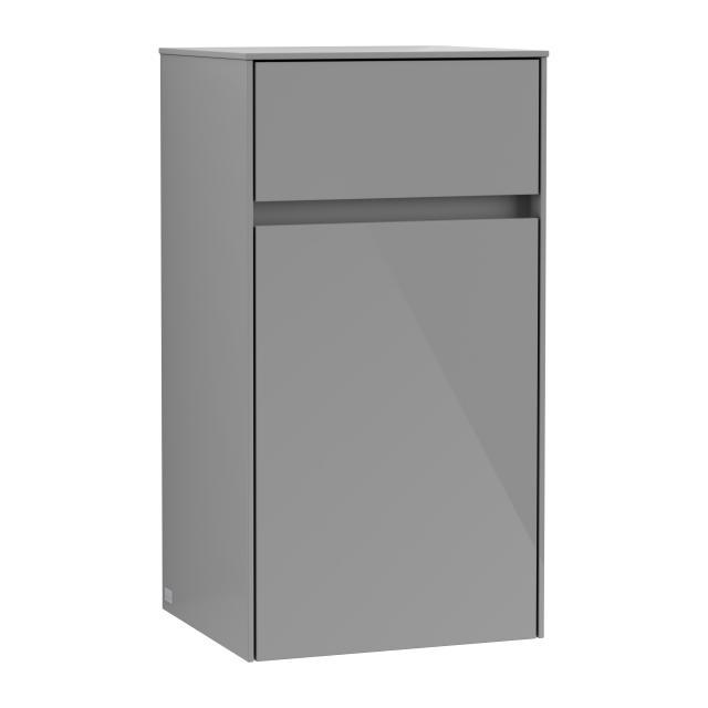 Villeroy & Boch Collaro Seitenschrank mit 1 Tür mit 1 Auszug Front glossy grey / Korpus glossy grey, Griffmulde anthrazit matt
