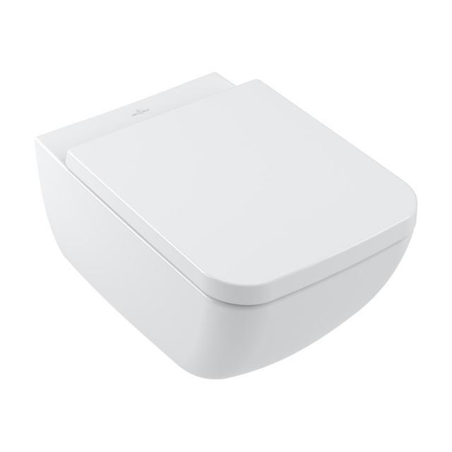 Villeroy & Boch Collaro Wand-Tiefspül-WC, DirectFlush, mit WC-Sitz, Combi-Pack weiß, mit CeramicPlus