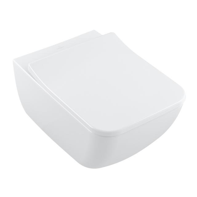 Villeroy & Boch Collaro Wand-Tiefspül-WC, DirectFlush, mit WC-Sitz SlimSeat, Combi-Pack weiß, mit CeramicPlus