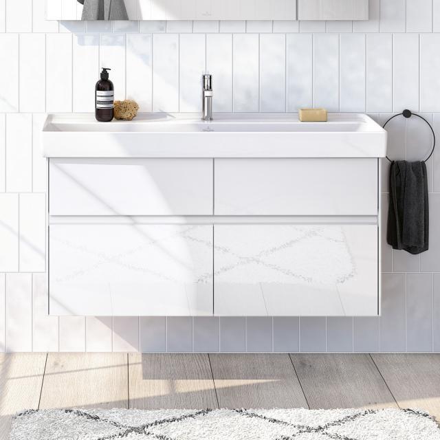 Villeroy & Boch Collaro Waschtisch mit Waschtischunterschrank mit 4 Auszügen Front glossy white / Korpus glossy white, Griffmulde weiß matt
