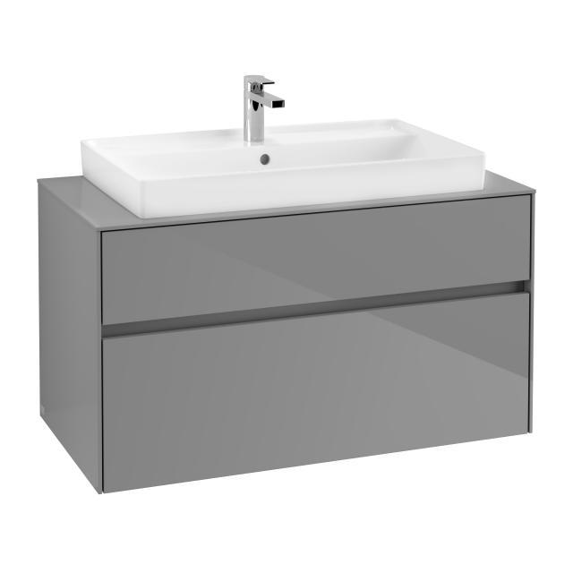 Villeroy & Boch Collaro Waschtischunterschrank mit 2 Auszügen Front glossy grey / Korpus glossy grey, Abdeckplatte glossy grey, Griffmulde anthrazit matt